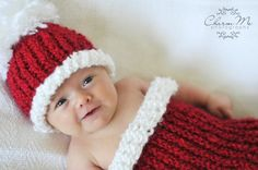 Newborn Baby Christmas Cocoon and Beanie Set by Adoruhbulcreations, $23.50