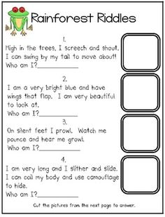 Rain Forest Riddles...a freebie!