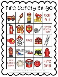 Fire Safety Bingo Fire Truck Activities, Two Years Old Activities, Bingo For Kids, Fire Safety Week, Life Skills Lessons, Family Child Care, Fire Prevention, Preschool Printables, Bingo Cards