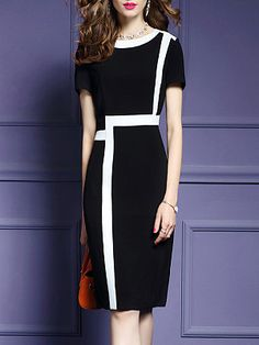 Round Neck Color Block Bodycon Dresses # Daily update comfy women's casual styles, big everyday Short Beach Dresses, Trendy Dresses, Casual Dresses, Cheap Dresses Online, Dress Online, Dress Silhouette, Mode Inspiration, Women's Fashion Dresses, Maxi Dresses