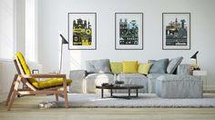 Minimaliste et recherché, voici une déco salon qui marie harmonieusement le jaune et le gris
