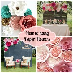 to hang paper flowers for backdrops and photo walls UPDATE Updated! New ideas and tips on how to hang Paper Flowers at events, weddings and home decorUpdated! New ideas and tips on how to hang Paper Flowers at events, weddings and home decor Hanging Paper Flowers, Large Paper Flowers, Paper Flower Wall, Tissue Paper Flowers, Giant Paper Flowers, Diy Flowers, Flower Decorations, Wedding Decorations, Diy Paper Flower Backdrop