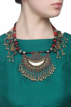 Silver finish green, yellow stone crescent pendant oversized necklace available only at Pernia's Pop Up Shop.