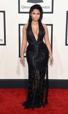 Nicki Minaj, in Tom Ford, attends the 57th Annual Grammy Awards in LA.