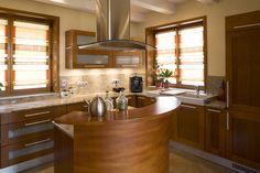 Browse through pictures of kitchens in this gallery featuring modern medium wood kitchen cabinets. Kitchen Cabinet Styles, Wood Kitchen Cabinets, Cupboards, Luxury Kitchens, Cool Kitchens, Round Kitchen Island, Kitchen On A Budget, Kitchen Ideas, Nice Kitchen
