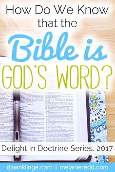 With so many voices, and faiths, and religions, and Bibles out there, how do we know that the Christian Bible is God's Word? Why do we trust the Bible over the Quran, the Book of Mormon, or some other religious book? That's what this post is all about. Join us for hope-filled words of truth, instruction, Bible explanations, and practical teaching about the absolute truth of God's Word as a part of the Delight in Doctrine Series. (www.melanieredd.com and www.dawnklinge.com.)