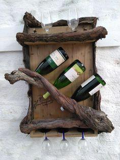 Key Pieces Of Rustic Wine Cabinet Ideas 64 Wine Rack Wall, Wine Glass Holder, Wine Bottle Holders, Wine Wall, Unique Wine Racks, Rustic Wine Racks, Vin Palette, Rustic Wine Cabinet, Wine Rack Inspiration