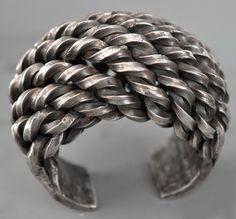 Monumental large cuff woven silver , Akha 19th c (private collection Linda Pastorino)