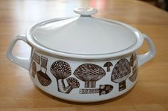 Ceramic Mushroom Casserole Dish, Kaj Franck for Arabia.