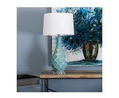 Lámpara de sobremesa en cerámica y lino Conchas - azul