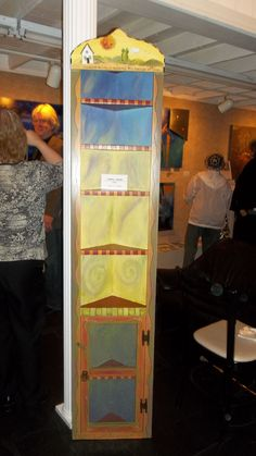 Painted Furniture. Corner cabinet, acrylic paint, wood burned outlining. Sold