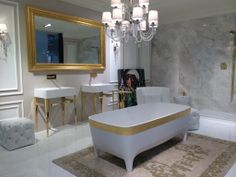 #Gold is trending and glamorous also in the #bathroom. #Mosbuild #Moscow