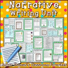 Common Core aligned #narrative writing unit for #FourthGrade.  Currently $6.99… Reading Lesson Plans, Reading Lessons, Writing Lessons, Writing Skills, Writing Ideas, Fourth Grade Writing, Writing Anchor Charts, Personal Narratives, Narrative Writing
