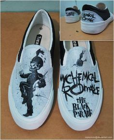 Buy My Chemical Romance custom shoes at Wish - Shopping Made Fun Emo Shoes, Sock Shoes, Band Outfits, Emo Outfits, Band Merch, Mcr Band, Emo Bands, Black Parade, Painted Shoes