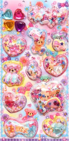 rabbit teddy bear with hair  tie glitter capsule stickers 2