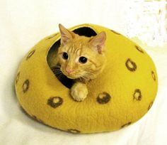Cat Bed Cat Cave Cat  House Felted Wool. Cat Mat For by InnaGanke, $75.00