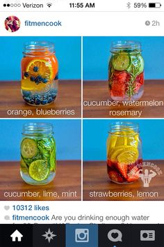 4 REAL vitamin water to help with detox, hydration and energy Infused Water Recipes, Fruit Infused Water, Infused Waters, Flavored Waters, Water Detox Recipes, Detox Drinks, Healthy Drinks, Healthy Eating, Healthy Water
