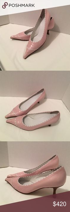 Beautiful Rare Pink Chanel Pumps. Classy Low Heel Authentic Light /Baby Pink & White Detail Leather Shoes. Gorgeous & very classy! Would be perfect for office days, or running errands during the holidays! • minimal wear, used twice,  to a Breast Cancer Awareness Event,  so they are practically new. •  show some wear on soles, and bit dirty on the back on one heel, as pictured. • size 38. •. leather sole. The still show the stitching pattern • smoke free home • God bless & happy Poshing…