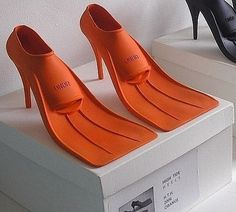 High heeled flippers. the ultimate beach chic...