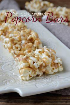 Salted Caramel Popcorn Bars - www.motherthyme.com