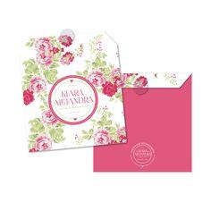 Invitación Bautizo / Baby Girl / pink / roses / vintage