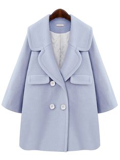 Shop Blue Lapel Double Breasted Woolen Coat online. SheIn offers Blue Lapel Double Breasted Woolen Coat & more to fit your fashionable needs.