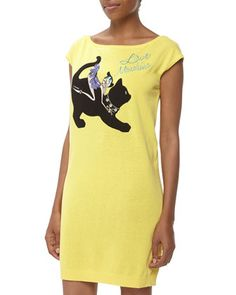 Love Moschino Dancer With Cat Appliqué T-Shirt Dress, Yellow