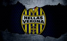 Download wallpapers Hellas Verona, 4k, art, Serie A, soccer, Verona, logo, football club, Hellas Verona FC, metal texture