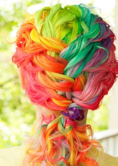 Crazy hair Color, My daughter would so do it! Crazy hair day at school! Funky Hair Colors, Colorful Hair, Multicolored Hair, Bright Hair, Hair Colours, Pastel Hair, Colourful Art, Bright Colours, Ombre Hair