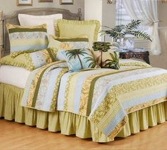 Another lovely example of pretty bedding! Palm Stripes All Cotton Quilt Bedding Ocean Bedding, Tropical Bedding, Tropical Bedrooms, Beach Bedding, Quilt Bedding, Coastal Bedding, Twin Quilt, Striped Quilt, Striped Bedding