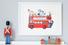 London Bus- Personalised Kid's Picture- Archival Nursery Print- Children's Iconic Decor- Baby's bedroom Art- Illustration- Drawing- Painting on Etsy, $49.01