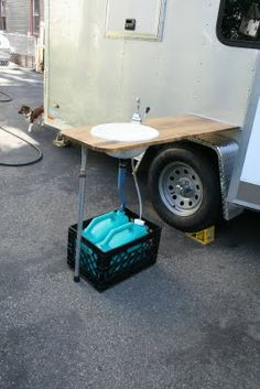 Aunt Barb's Cargo Travel Trailer: Side table and wash station
