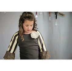 Brown Striped Raglan Top love this fall top shirt for fall for girls so cute