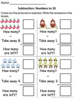 18 Winter themed addition & subtraction worksheets, sums/numbers to 10. Adding and subtracting using pictures. For beginning level skills; Kindergarten/1st.  Horizontal and vertical problems.  Color and black & white versions included. $
