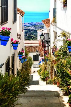Beautiful street with flowers in the Mijas town, Spain Washable Wall Mural - Themes Cadiz, Mijas Spain, Travel Around The World, Around The Worlds, Beautiful Streets, Beautiful Places To Travel, Spain Travel, Wall Murals, Travel Inspiration