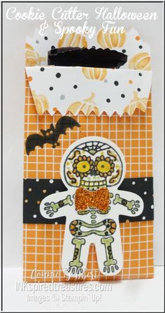 Stampin' Up!, Cookie Cutter Halloween and Spooky Fun, Sugar Skull, skeleton, #stampinup, Mini Treat Bag with card, #inkspiredtreasures, created by Connie Babbert, www.inkspiredtreasures.com