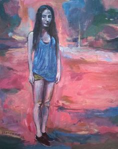Original Painting collected artist Samuel Burton Woman in Pink Landscape Deco