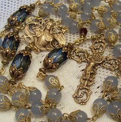 French Rosary ~ St. Joan of Arc ~ Ornate Antique Bronze Design ~ 8mm Pale Blue