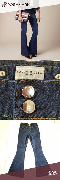 Karen Millen Flare Leg Jeans Size 2 Dark Wash HP SPORTY CHIC PARTY 11/30/17 Karen Millen England Flare Leg Jeans size 2 in Dark Wash. Pristine condition. Waist 14 inch laying flat Rise 10 inch Inseam 31 inch Karen Millen Jeans