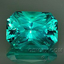 Neon Apatite Modified Radiant Cut - Gorgeous! Intense turquoise blue, extremely saturated and brilliant. Weight: 3.82 cts, 10.8x8mm, depth 6.2mm, Origin: Madagascar