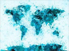 Paint Splashes Map of the World Map Art Print 797 by artPause
