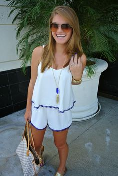 Blue Trim Romper