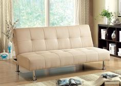 """Dewey Futon Sofa CM2679IV For $192 With Free Shipping  Description:   This sleek contemporary futon is comfortable and functional. The sofa converts to a bed easily and has sturdy chrome legs, and a hidden extra leg for support. Available in three fabric colors: blue, green, and ivory.  Features:   Contemporary Converts into Bed Side Pockets Extra Folding Legs Linen-like Fabric Matching Ottoman Available Dimension:   Futon Sofa: 70""""W X 36""""D X 34""""H (Seat Ht15 3/4"""", Seat Dp22"""") Bed :70""""W X 45…"""