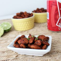 Chipotle Honey Lime Almonds ~ spicy, tangy, and a little bit sweet all in one - the perfect healthy snack. From Living Well Kitchen