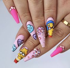 The Simpsons Valentine's nails Disney Acrylic Nails, Summer Acrylic Nails, Best Acrylic Nails, Spring Nails, Summer Nails, Plain Nails, Glamour Nails, Crazy Nails, Fire Nails