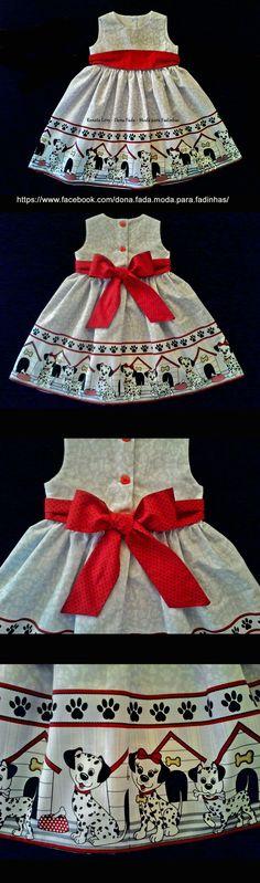 Vestido  Dálmatas 1 ano -  - -baby - infant - toddler - kids - clothes for girls - - - https://www.facebook.com/dona.fada.moda.para.fadinhas/