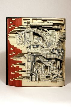 """Brian Dettmer Pattern Layouts 2007 Altered Book 9-3/4"""" x 9"""" x 2-1/2"""" Image Courtesy of the Artist and MiTO Gallery"""