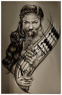 JEREMY WORST Jhene Aiko awesome Artwork Signed Print size options rare jack jd jackdaniels urban art black art African girl