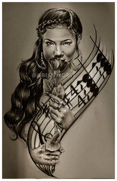 JEREMY WORST Jhene Aiko awesome Artwork Signed Print size options rare jack jd jackdaniels urban art black art African girl
