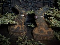 EARLY PRIMITIVE BEESWAX RABBITS